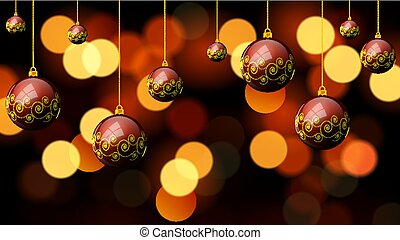 Hanging Christmas red balls with a pattern on the background bok