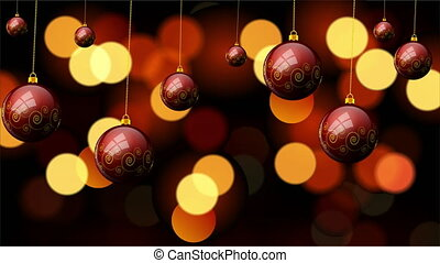 Hanging Christmas red balls with a pattern on the background bokeh