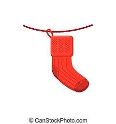 Hanging christmas sock icon, cartoon style