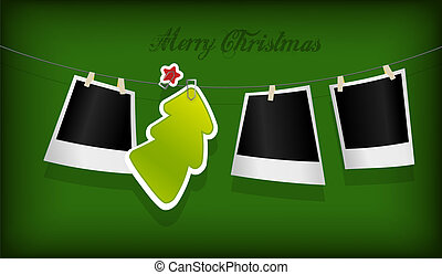 Hanging Christmas tree badge and photographs. Vector art