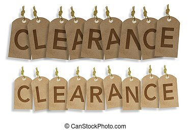 Hanging Clearance Vintage Labels. Paper Labels Creating Word Clearance. Business Marketing Object Isolated on White.