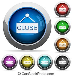 Hanging close sign button set