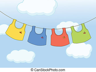 Hanging clothes - Illustration of the hanging clothes