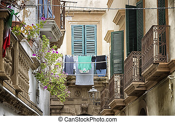 Hanging clothes in the old town of Gallipoli (Le) - Hanging...