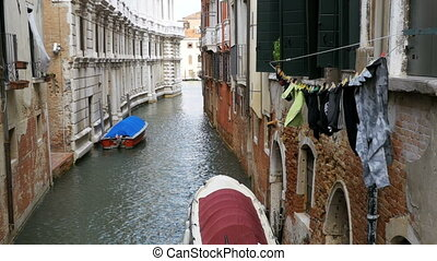 Hanging Clothes on the Street after been Washed in Venice,...