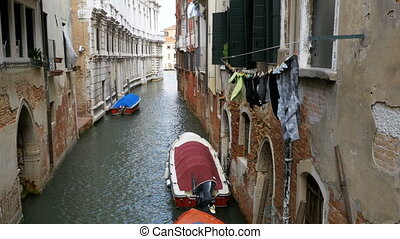 Hanging Clothes on the Street after been Washed in Venice, Italy