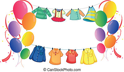 Hanging clothes with colorful balloons - Illustration of the...