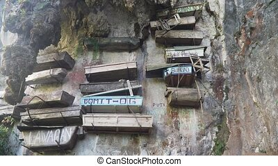 Hanging coffins of Sagada. Philippines, Luzon - Tourist...