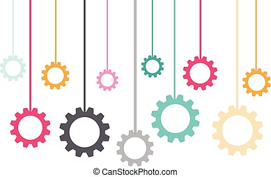 Hanging color gears isolated on white background. Vector illustration