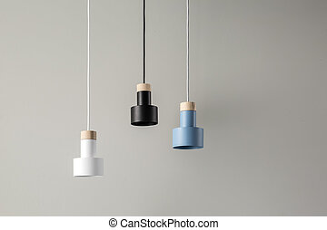 Hanging colorful lamps