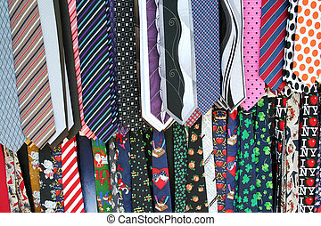 Mens Neck Ties - Hanging colorful Mens Neck Ties at the flea...