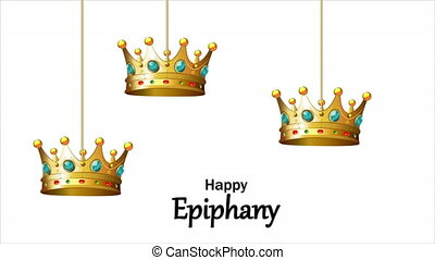 Hanging crowns of the three kings in Epiphany, art video illustration.