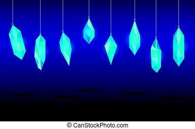 Hanging crystals. Minerals, design elements. Vector illustration