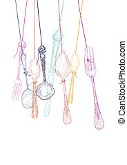 Hanging cutlery elements silhouettes - Vintage transparent...