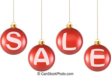 Hanging decoration Christmas red balls with sale letters.
