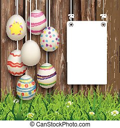 Hanging Easter Eggs Worn Wood White Board