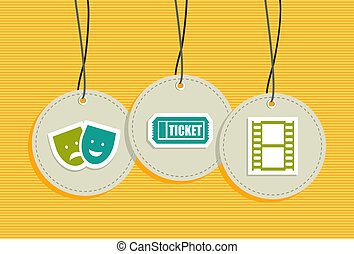 Entertainment hang tags illustration set. Vector file layered for easy manipulation and custom coloring.