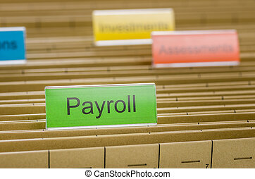 Hanging file folder labeled with Payroll
