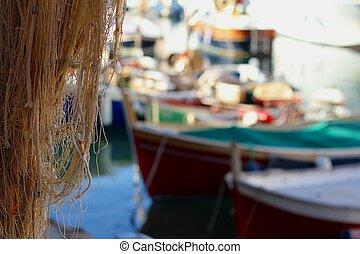 Hanging fishing nets