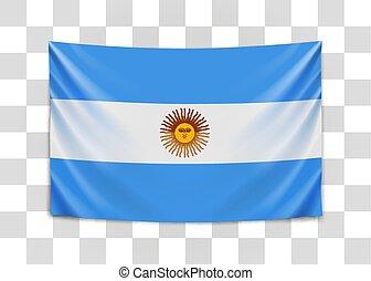 Hanging flag of Argentine. Argentine Republic. National flag...