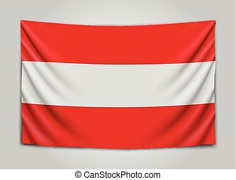 Hanging flag of Austria. Republic of Austria. National flag concept.