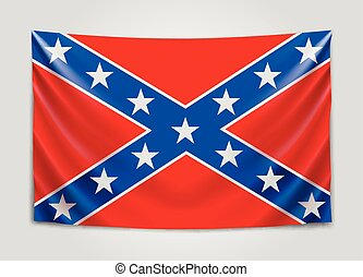 Hanging flag of Confederate. Confederate States of America. National flag concept. Vector illustration.