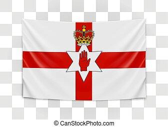 Hanging flag of Northern Ireland. Northern Ireland. National flag concept.