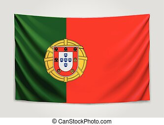 Hanging flag of Portugal. Portuguese Republic. National flag concept.