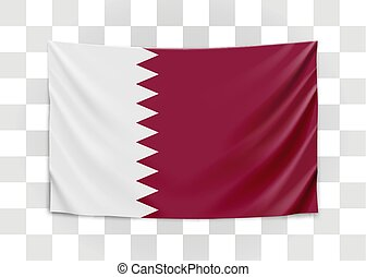 Hanging flag of Qatar. State of Qatar. National flag concept...