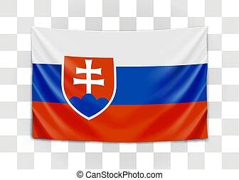 Hanging flag of Slovakia. Slovak Republic. National flag concept. Vector illustration.