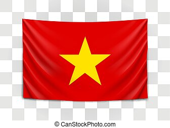 Hanging flag of Vietnam. Socialist Republic of Vietnam....