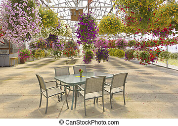 Hanging flower baskets outdoor seating.