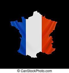 Hanging France flag in form of map. French Republic. French national flag concept.