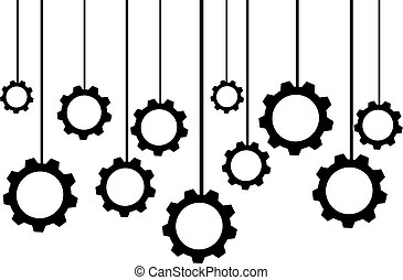 Hanging gears isolated on white background. Vector illustration