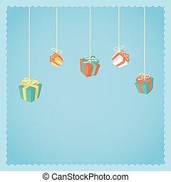 Hanging gift boxes.