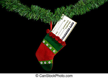 Hanging Gift - Gift certificate in holiday stocking.