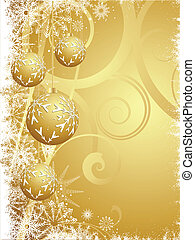Hanging gold Christmas baubles
