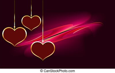 hanging gold heart on abstract background