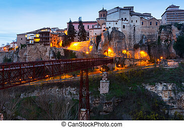 Hanging houses on rocks in early morning. Cuenca
