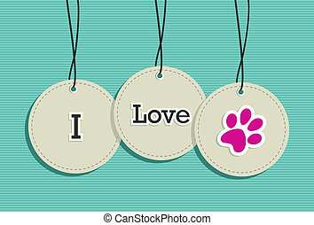 Hanging I love pets badges.