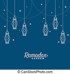 hanging islamic lantern decorative ramadan kareem background