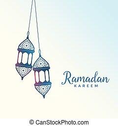 hanging islamic style lantern for ramadan kareem