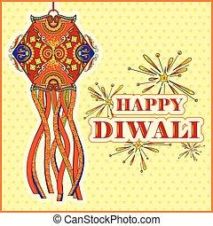 Hanging kandil lamp and diya for Diwali decoration