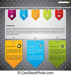 Hanging labels web template design - Website template design...