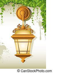 Hanging Lamp - illustration of old lamp hanging on wall with...