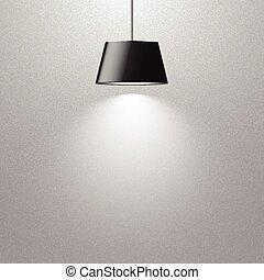 hanging lamp - hanging black lamp on gray texture wall