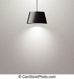 hanging lamp - hanging black lamp on gray texture wall