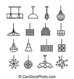 hanging lamp vector, chandelier vector, decorate icon set