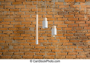 Hanging lamps with wooden parts