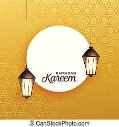 hanging lantern with text space on golden background for ramadan kareem